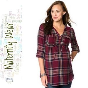 Motherhood Maternity Maroon and Grey Plaid Tunic
